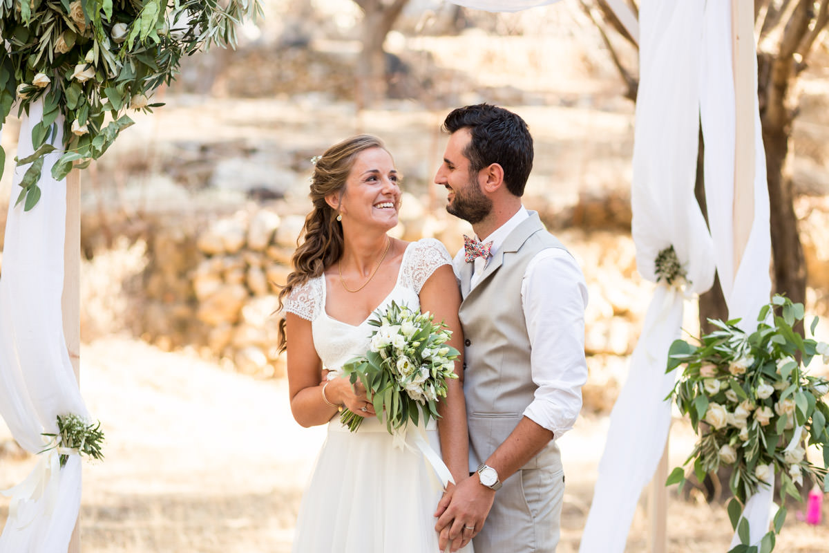 olive grove wedding ceremony in Crete