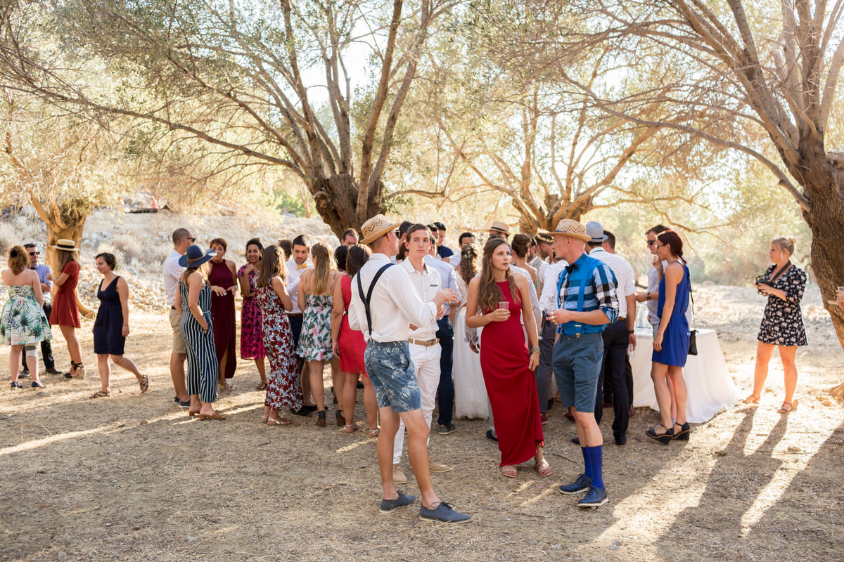 olive grove wedding reception in Crete