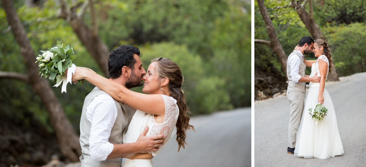 wedding portraits in a gorge in Crete