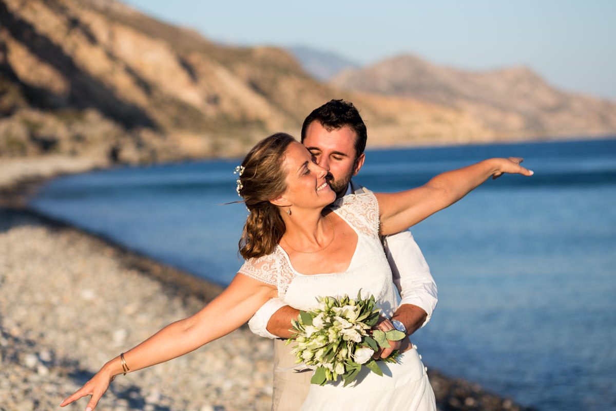 wedding portraits by the beach in Crete