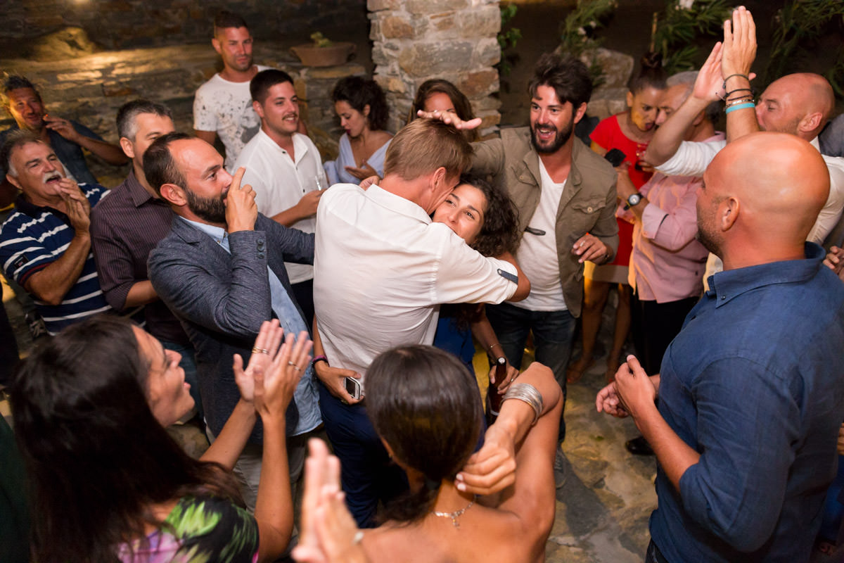 couple has fun in the wedding party