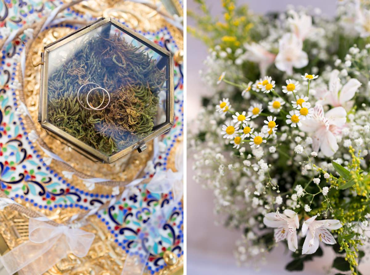 wedding rings and flowers in Greece