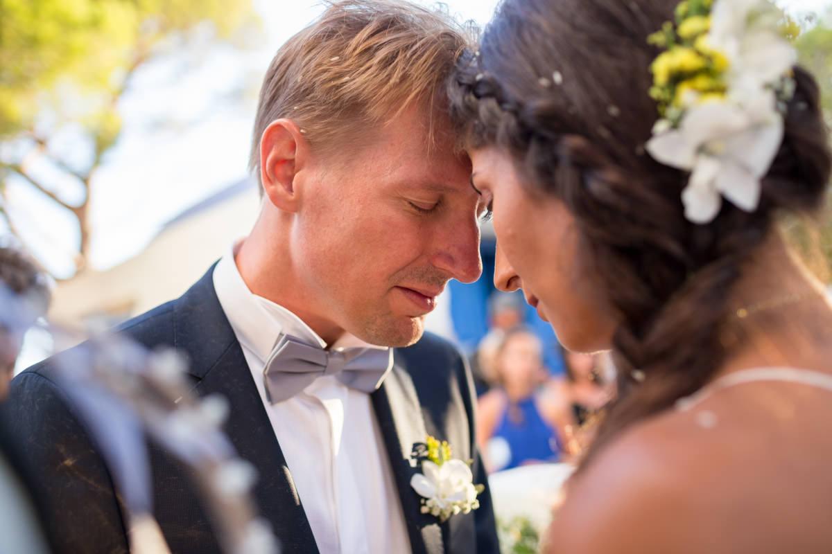 intimate wedding portrait in Greece