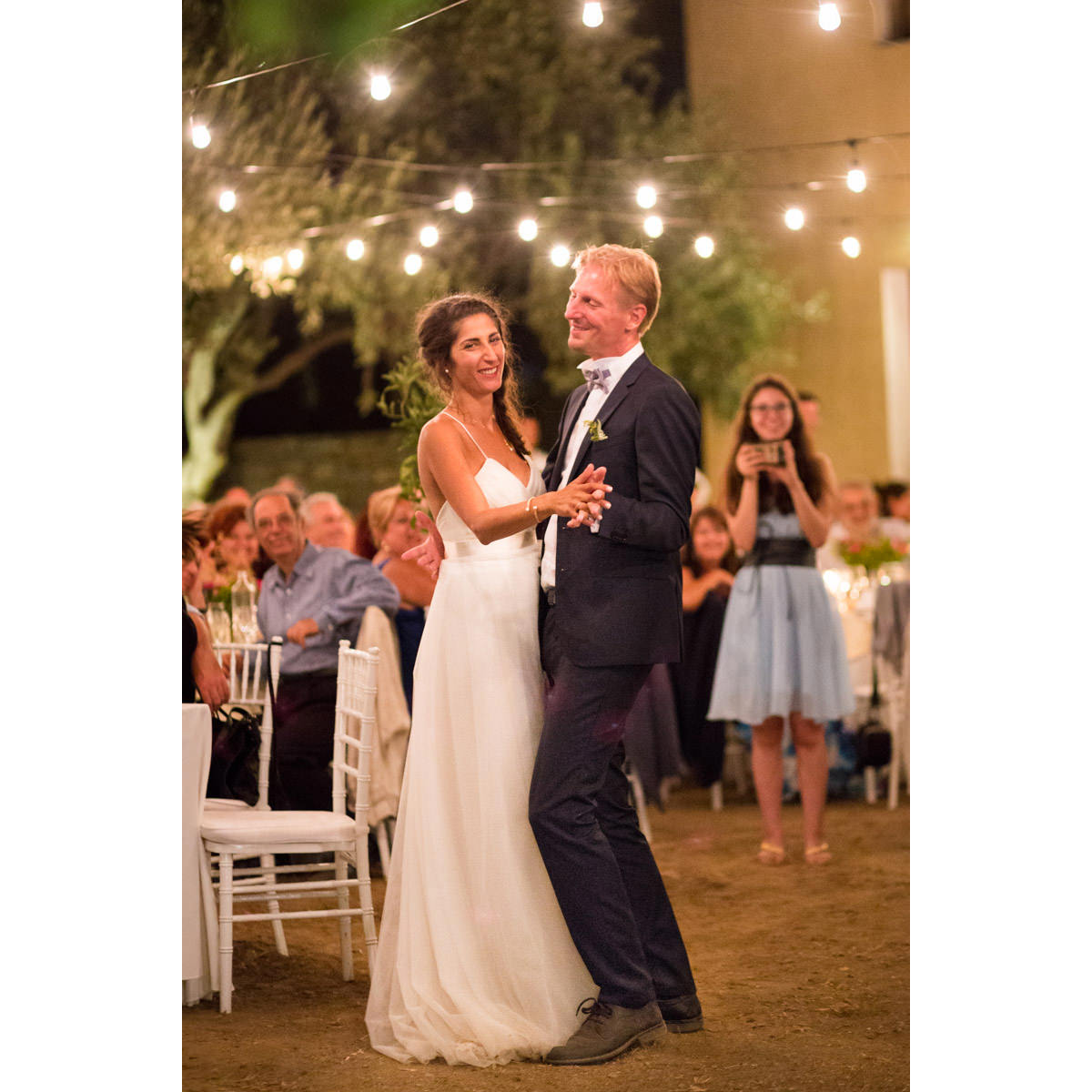 groom and bride first dance in Greece