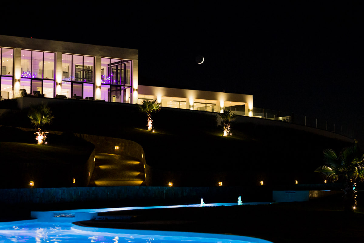 Avaton luxury villas resort at night