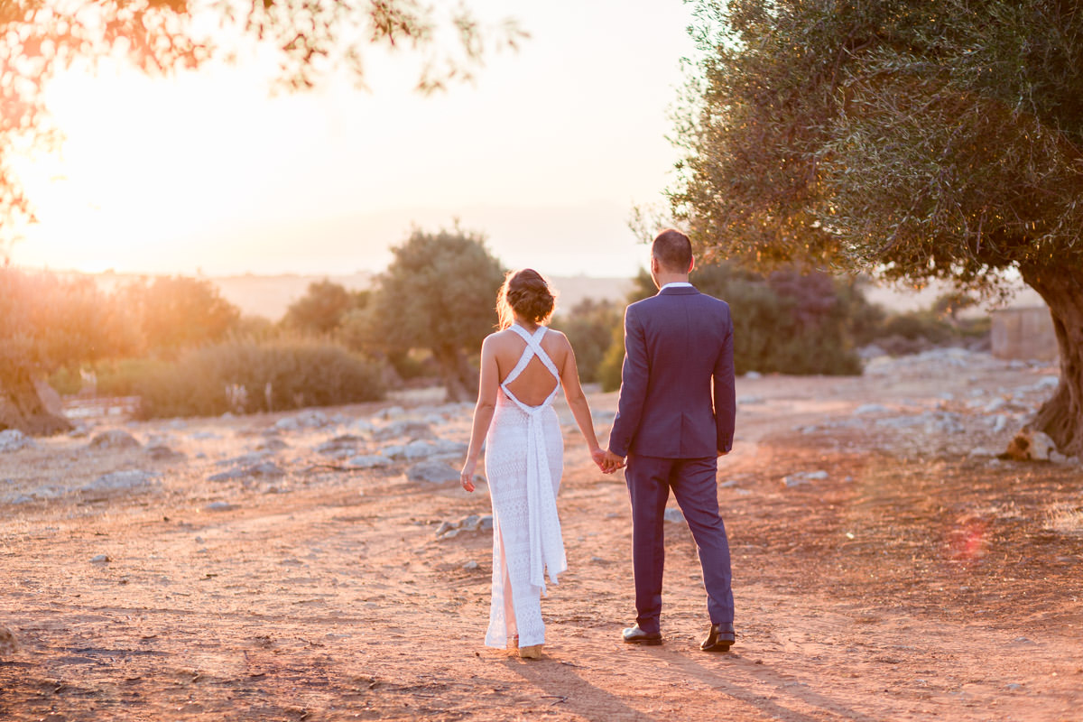 sunset wedding photo in Crete