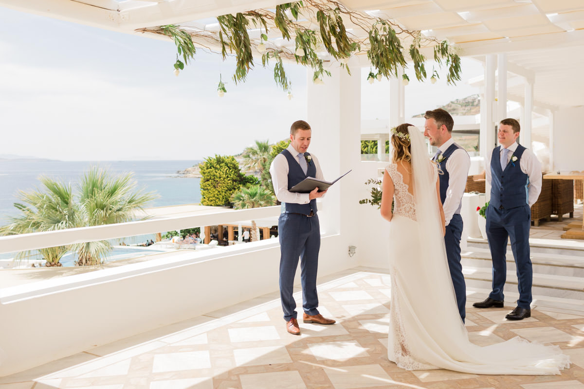 wedding ceremony in Mykonos hotel